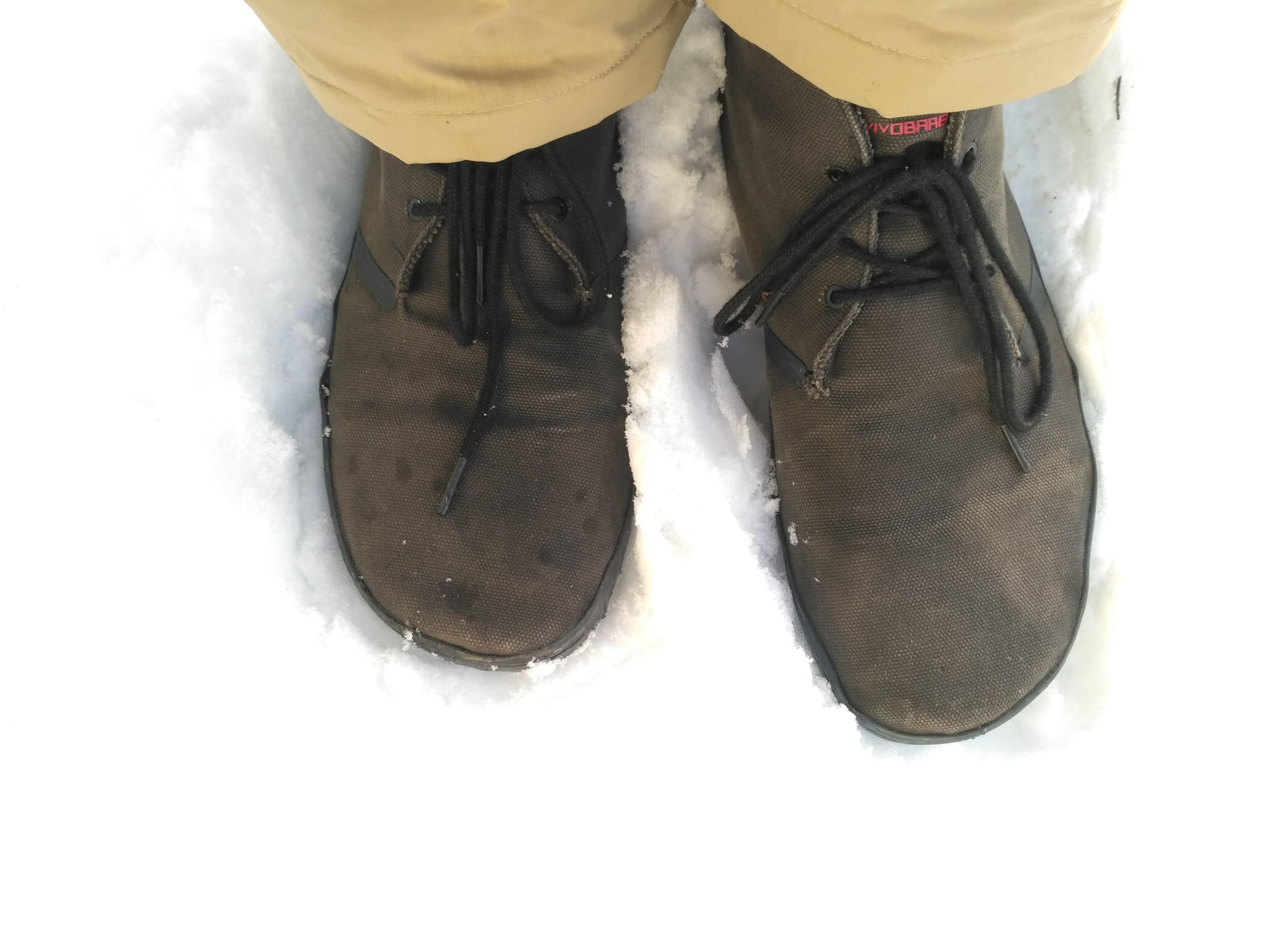 Vivobarefoot Men's Gobi II in the snow